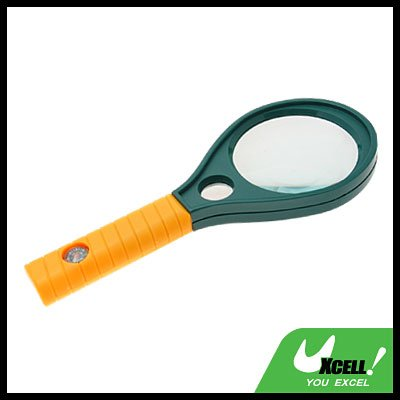 67mm dia 4x 6x Magnifier Mineral Glass Magnifying Glass With Compass- Yellow Handle