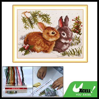 A Couple of Rabbits Pattern X-Stitch Counted Cross Stitch Kit