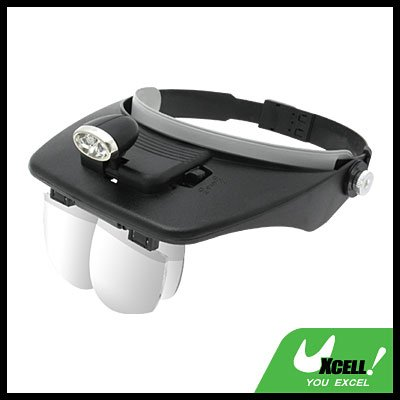 2 LED Head Light Magnifying Glass Magnifier - Black