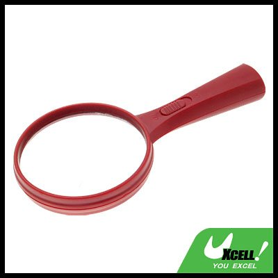 LED Illuminated Mineral Glass 5X Magnifying Glass Magnifier - Red