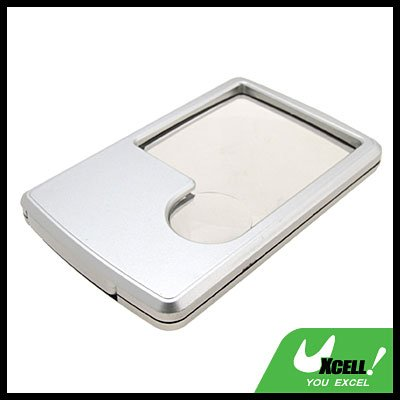LED Illuminated Credit Card Magnifier Magnifying Glass Silver