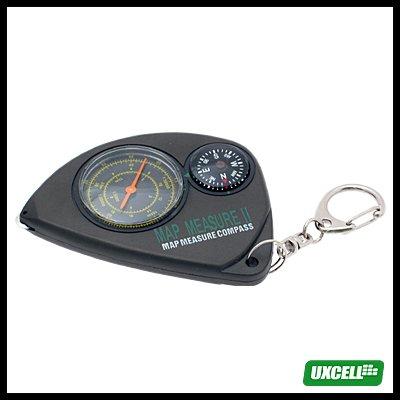 Mini Key Ring Map Measure Meter & Compass - Black***/