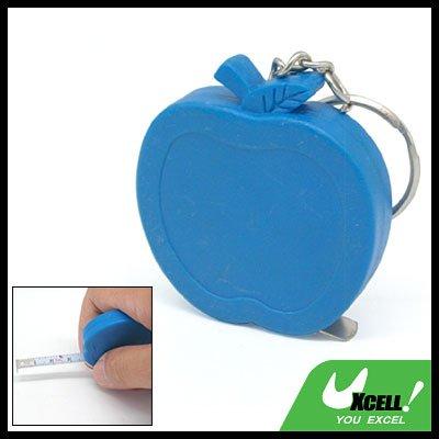 Pocket Blue Apple Retractable Tape Measure Ruler Keychain