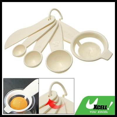 Kitchen Plastic Measuring Spoons Egg Separator Leveling Knife Set