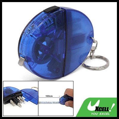 Pocket Measuring Tape Key Chain w/ Screwdriver Bits LED Light