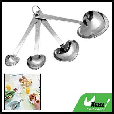 Baby Heart Shaped Stainless Steel Measuring Spoon 4 Set
