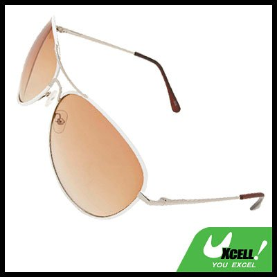 White Metal Frame Aviator Sunglasses with Brown Lens