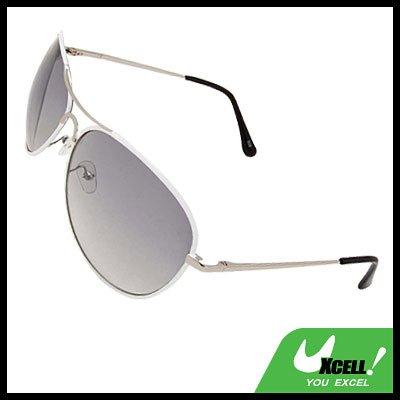 Light Grey Aviators Sunglasses in White Metal Frame