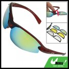 Red Wine Frame Motorcycle Sunglasses with Multi Lens