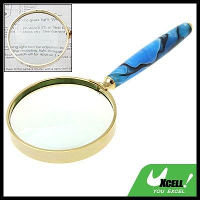 3X Blue Handle Golden Frame Magnifier Magnifying Glass
