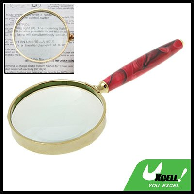 3X Slim Handle Metal Magnifying Glass Magnifier for Reading