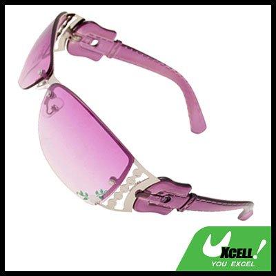 Purple Stylish Metal Frame Flower Girls Womans Sports Sunglasses