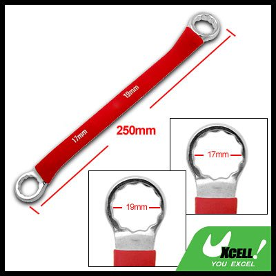 Box End 17mm 19mm Double Side Red Soft Grip Offset 12 Point Wrench Tool