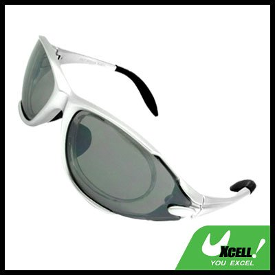 Sports Driving Sunglasses Gray Transparent Lens and Silvery Frame