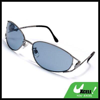 Men's Sport Sunglasses With Blue Lens & Metal Frame