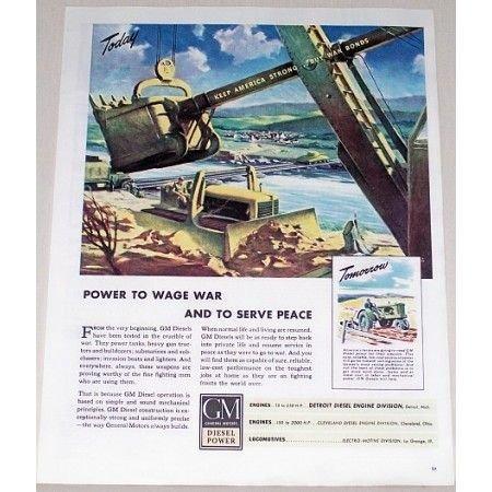 1944 GM Diesel Power Construction Equipment Front End Loader Dozer Color Art Print Ad