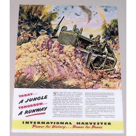 1944 International Harvester Tractor Dozer Wartime Color Art Print Ad