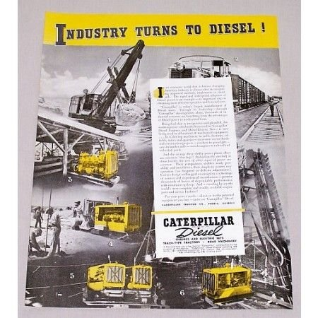 1940 Caterpillar Diesel Construction Equipment Color Print Ad