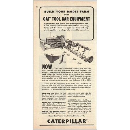 1955 Caterpillar Cat Tool Bar Equipment Implement Print Ad