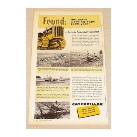 1957 Caterpillar Diesel Track Type Tractor Color Print Ad