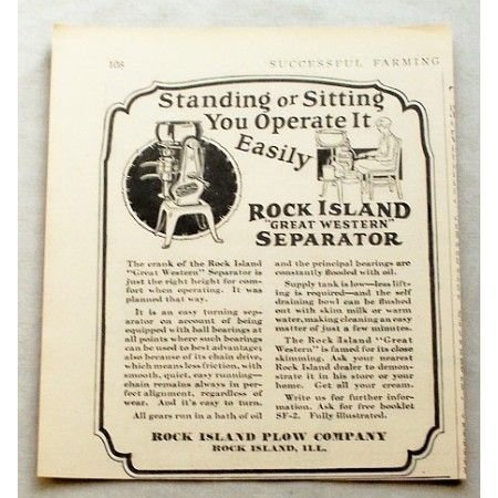 1929 Rock Island Great Western Cream Separator Print Ad