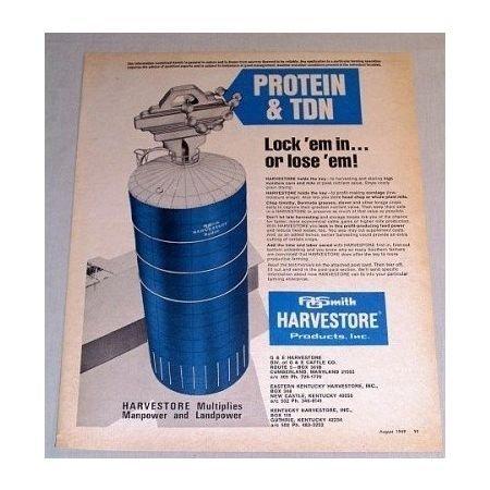 1969 AO Smith Harvestore System Harvesting Silo Farm Print Ad