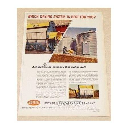 1959 Butler Harvest Drying System Batch Dryer Color Print Ad