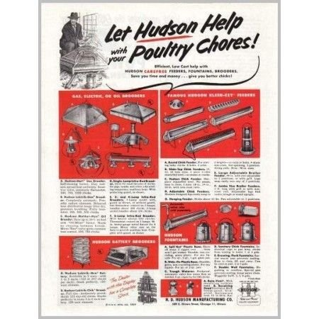 1954 Hudson Poultry Farm Products Print Ad