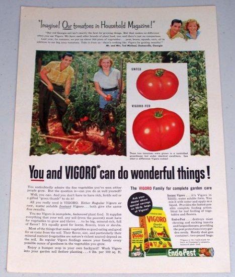 1954 Vigoro Complete Plant Food Tomato Garden Color Print Ad