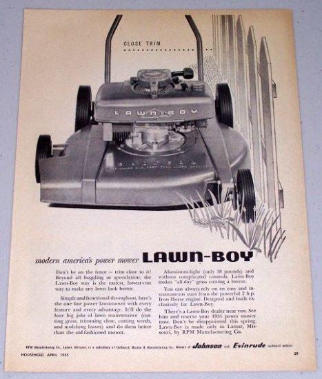 1955 Lawn Boy Power Push Mower Lawn Print Ad