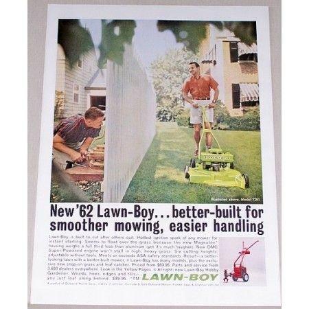 1962 Lawn Boy Model 7251 Push Mower Color Print Ad