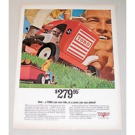 1967 Toro 4HP Lawn Tractor Mower Color Print Ad