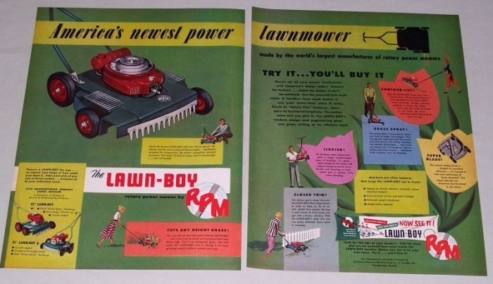 """1953 RPM Lawn Boy 18"""" Rotary Power Mower 2 Page Color Print Ad"""