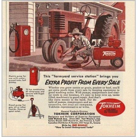 1955 Tokheim Farm Pumps Color Print Ad - Farmyard Service Station