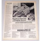 1963 Homelite Direct Drive Chain Saw Print Ad