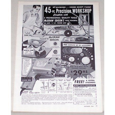 1961 McGraw Edison Precision Workshop Tools Print Ad
