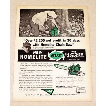 1959 Homelite Buz Direct Drive Chain Saw Print Ad