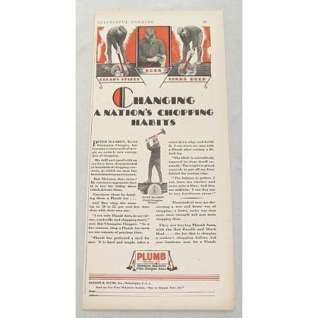 1929 Plumb Double Life Tools Axe Hatchet Color Print Ad