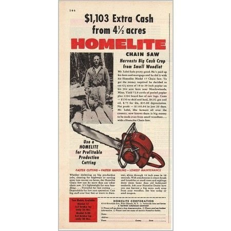 1955 Homelite Model 17 Chain Saw Color Print Ad