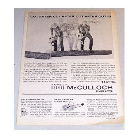 1960 Print Ad for 1961 McCULLOCK Chain Saw - Cut After Cut