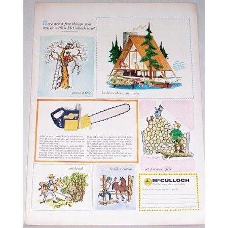 1956 McCullock Chain Saw Color Art Print Ad