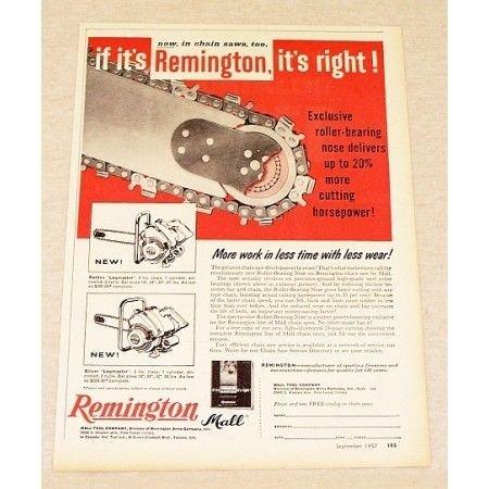 1957 Remington Logmaster Chain Saw Print Ad