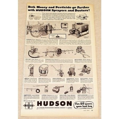1957 Hudson Pesticide Sprayers And Dusters Ad