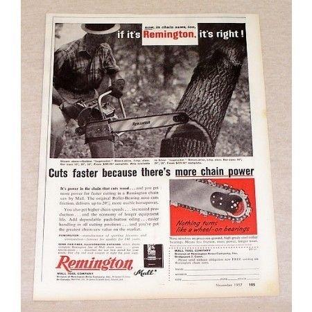 1957 Remington Golden Logmaster Chain Saw Print Ad