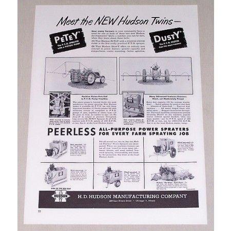 1951 Hudson Power Sprayers New Hudson Twins Print Ad