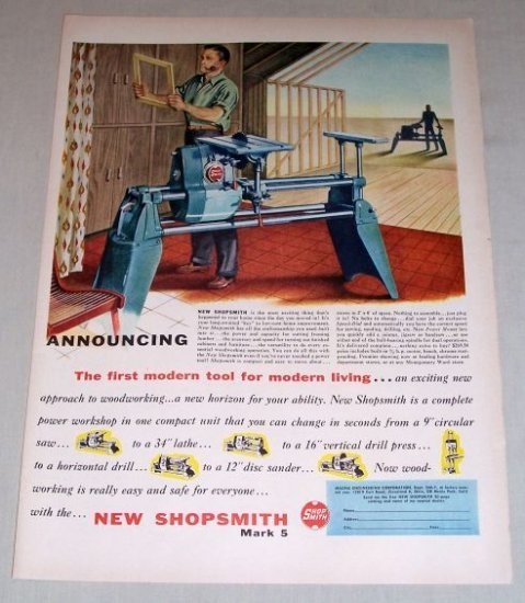 1954 Shopsmith MARK 5 Saw Power Workshop Woodworking Color Art Print Ad