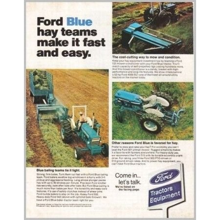 1974 Ford Tractor Equipment Baling Team Color Print Ad