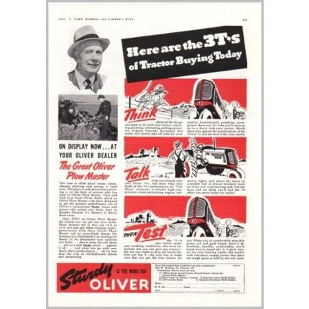 1941 Oliver 70 Farm Tractor Print Ad - Sturdy Is The Word