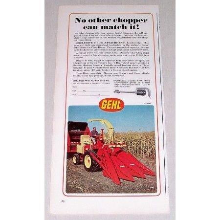 1967 Gehl Chop-King Forage Harvester Color Print Ad