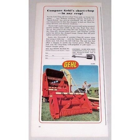 1967 Gehl Chop-All Forage Harvester Color Print Ad